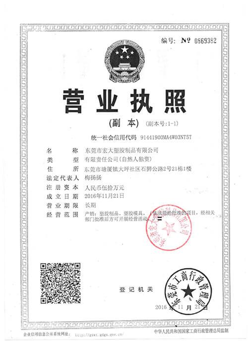 H.D. plasticsis Business License