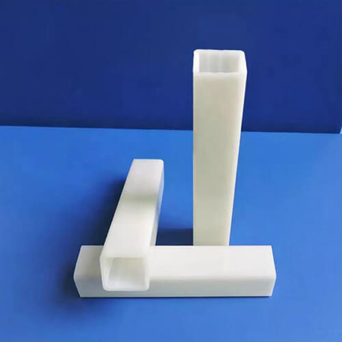 Extruded white square plastic pipe